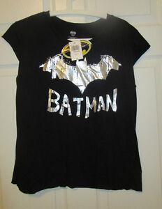 Womens Batman Shirt Foil Logo Black Silver New Juniors Girls XL Extra Large NWT