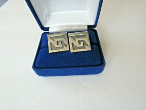 PAIR OF VINTAGE STERLING MEXICO HECHO RBZ CUFF LINKS AZTEC STAIRS