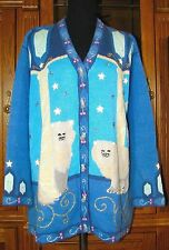 Storybook Knits Cat Sweater Cardigan Kitty Blue Persian Royalty Womens 1X