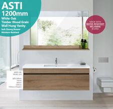 ASTI | 1200mm White Oak Timber Wood Grain Wall Hung Vanity w Polymarble Top