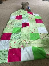 Handmade flannel,minky baby quilt,green,ladybugs,dots ,pink,white,turtles,warm