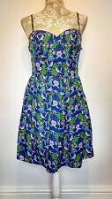 Vintage style 50s blue floral summer dress size 14