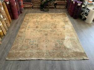 Pink Persian Rug, Large Persian Rug, Persian Area Rug, Handmade Rug, 6.7x8.6 ft