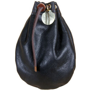 Drawstring Pouch Soft, Full Grain Black Leather Money Bag Size Medium USA Made