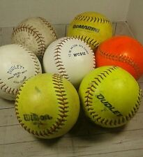 Lot of 7 Used Softballs Dudley DeMARINI Worth Wilson Leather 12""