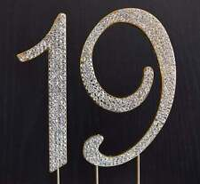 Gold  Rhinestone  NUMBER (19) Cake Topper 19th Birthday Party Anniversary