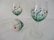 Hand Painted Wine Glass Country Garden Design