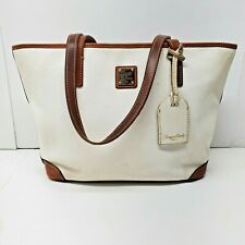 Dooney & Bourke Tote Bag Purse Carry All Shopper Pebbled White Leather Brown
