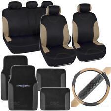 14 PC Racing Car Seat Cover + TRIBAL Floor Mats + Steering Wheel Cover - Beige