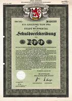 Wuppertal hist. dekorativ Stadt DM Anleihe 1954 Nordrhein-Westfalen NRW Wappen