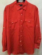 Oak Hill Shirt 2XL Mens Orange Linen Convertible Long Sleeve Chest Pockets