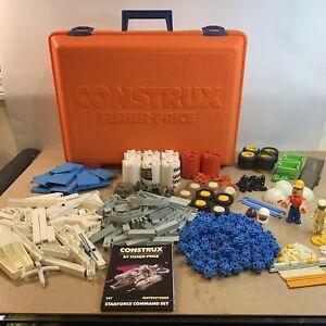 Vtg 80s Fisher Price CONSTRUX Orange Case PARTS Lot #587 Building Toy 1985