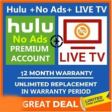 Hulu Premium LIVE TV + No Ads ✅Pandora Gift ✅1 Year Warranty ✅ Fast Delivery