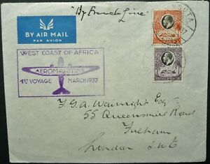 """GOLD COAST MAR 1917 """"AEROMARITIME"""" FIRST FLIGHT COVER FROM NSUTA TO LONDON"""