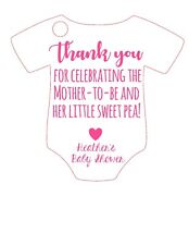 15 Baby Shower favor tags Thank you celebrating mother to be sweet pea girl pink