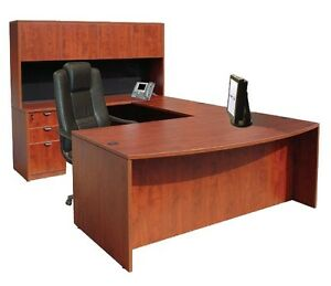 Cherryman U-Desk w/ hutch and BBF/FF Pedestal