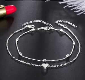 Pair Women Heart Ankle Bracelets  Silver Anklet Foot Chain  Beads UK