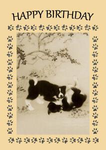 JAPANESE AKITA DOG CUTE PUPS AT PLAY BIRTHDAY GREETINGS NOTE CARD