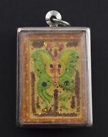 Talismano Kruba Krissana Salika Coppia Uccelli Farfalla Amour Amuleto Thai 1390