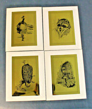 Vintage Peggy Bang 1974  Set of 4 Gold FOIL Wildlife Water Fowl Etchings