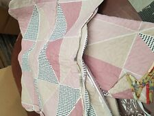 Vintage Diamond Pink Patchwork Quilted Bedspread Double/King Size with 2 Shams