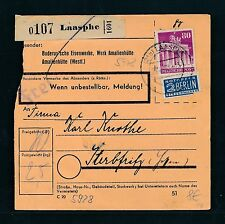 03885) Bauten, Paketkarte ab Laasphe 1953, EF 80PF eng