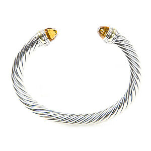 DAVID YURMAN Cable Classic Bracelet with Citrine & 14K Gold 7mm $825 NEW
