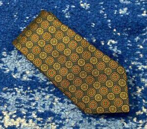 Brooks Brothers Boys Gray Green Gold Brown Rust Black Geometric Silk Necktie US