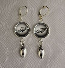 Philadelphia Eagles Earrings w/Football Charm Upcycled from Football Cards