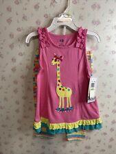 Girls 4t giraffe on roller skates 2 piece outfit Set Pink Yellow Blue Super Cute