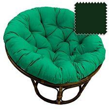 """International Caravan  42"""" Rattan Papasan Chair Solid Twill Cushion Forest Green"""