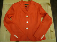 Womens RALPH LAUREN size 6 100% linen blazer coral color lined pre-owned