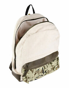 RRP €115 MANUEL RITZ Linen Backpack Large Partly Palm Trees Pattern Zip Closure
