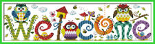 Welcome - Owls - Cross Stitch Chart - Free Postage