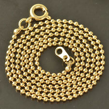 Charming 9K Solid Gold Filled Beaded Womens Chain Necklace,18.5 Inch,Z4200
