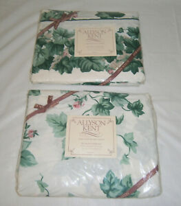 Vintage NIP Allyson Kent English Ivy Twin Flat & Fitted Sheets Ivy & Pink Rose