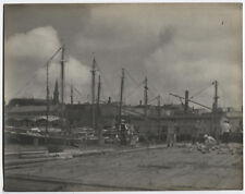 PHOTO PICTORIALISM WHARF WITH SHIP MASTS.