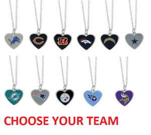 NFL Football Team Logo Womens Color Logo Heart Pendant Necklace Pick Your Team