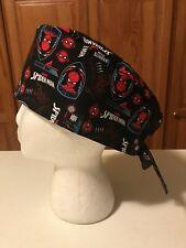 Scrub or Chef Hat Medical Nursing Chemo Skull Cap Spiderman Cotton Fabric