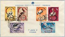 63007 - SOMALIA - POSTAL HISTORY - FDC COVER  Scott # 230/3 + C61/2  1959  BIRDS
