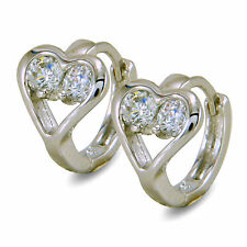 Girls Womens Small 9ct White Gold Filled Heart Hoop Earrings CZ Lovely 9K BE907