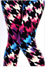Women's Leggings Houndstooth Multi Color One Size 2-12 Print OS