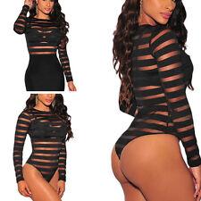 Women Sheer Bodysuit Top Stripe Blouse Horizontal Long Sleeve Shirt Clubwear S-L