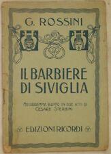 GIOACHINO ROSSINI IL BARBIERE DI SIVIGLIA LIBRETTO D'OPERA STERBINI BOOKLET 1930