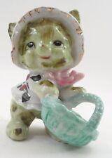Cute 1950s Mij Little Lady Green Bunny Rabbit w/ Bonnet & Easter Basket Figurine