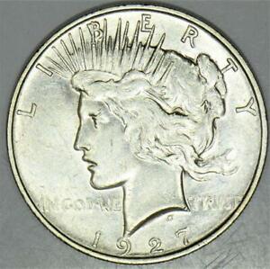 1927-D Peace Dollar; Choice AU-BU