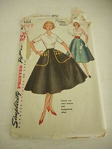Vintage Simplicity 4301 Skirt Cummerbund Pattern 1960s uncut Waist Sz 30 Hip 39