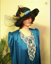 Edwardian Victorian 1920s Downton Abbey Dress and Hat Teal Blue Size Medium