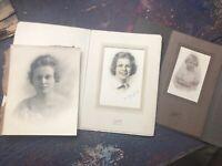 Lot of BW Antique Portrait photographs of Women Tilton NH name: Guillow Foster