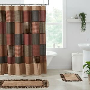 VHC Maisie Black Tan Burgundy Patchwork Ruffled Floral Country Shower Curtain